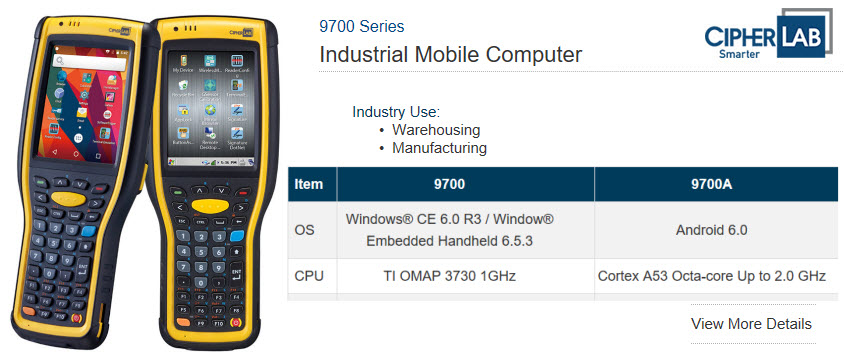 cipherlab 9700 series industrial mobile computer