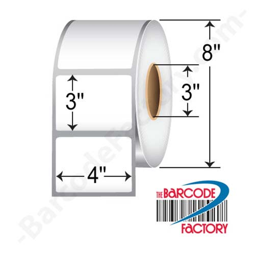 BarcodeFactory 4 x 3 Thermal Transfer Paper Non-Perf Label BAR-L-TT-40301-NP