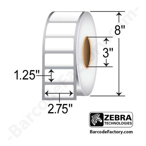 Zebra 2.75x1.25 Z-Ultimate 3000T White 10011701