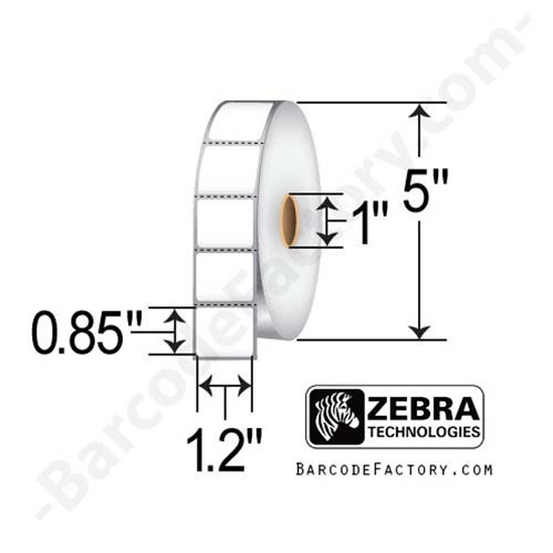 Zebra 1.2x0.85 Direct Thermal Label 10010037-EA