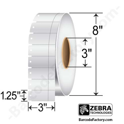 Zebra 3x1.25 Z-Perform 1000T 7.5 mil Tag 67251