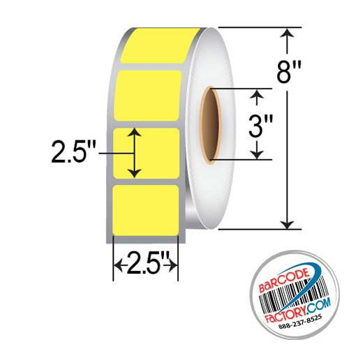 Barcodefactory 2.5 x 2.5 Thermal Transfer Paper Label - Yellow BAR-2.5x2.5-Yel