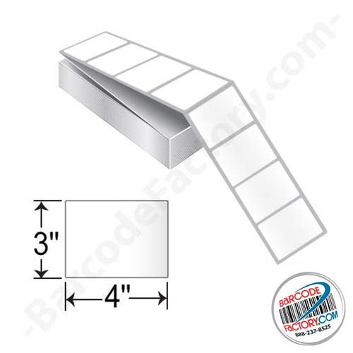 Barcodefactory 4 x 3 Direct Thermal Fanfold Label BAR-DT-4-3-FF