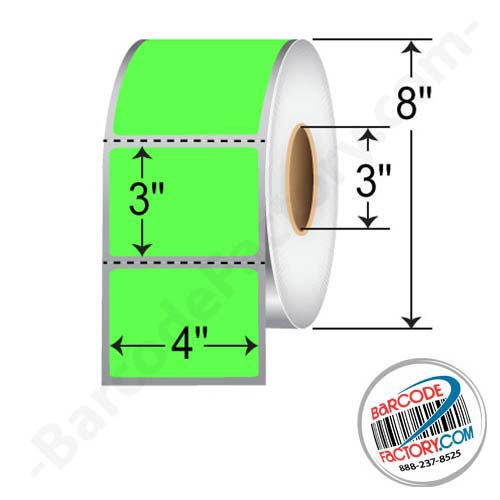 Barcodefactory 4 x 3 Thermal Transfer Paper Label - Fluorescent Green FGP400300P1P38F