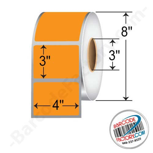 Barcodefactory 4 x 3 Thermal Transfer Paper Label - Fluorescent Orange FOP400300P1P38F