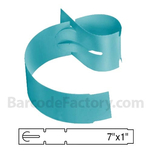 BarcodeFactory 7x1 Thermal Blue Tree Wrap Tags BAR-WPT7X1-BL