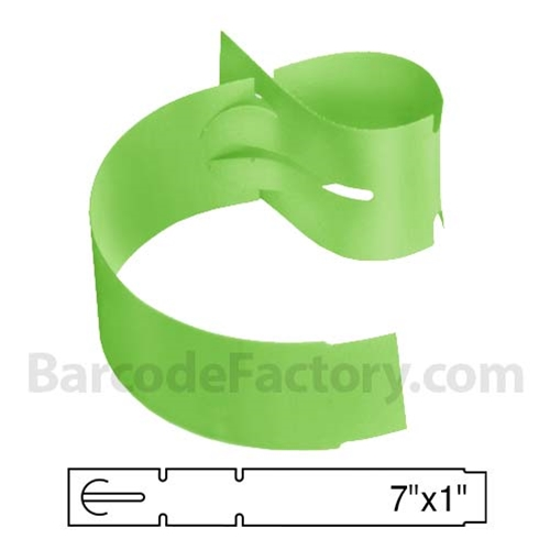 BarcodeFactory 7x1 Thermal Lime Tree Wrap Tags BAR-WPT7X1-LM