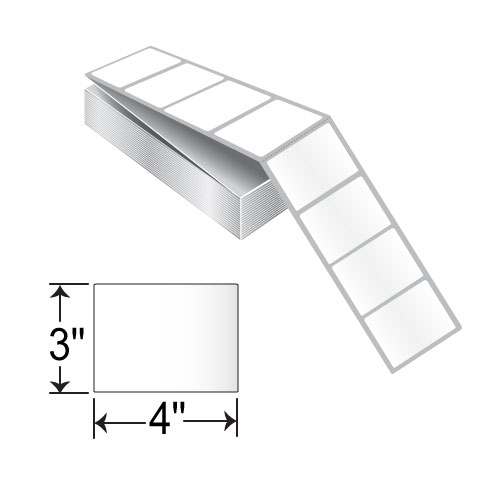 BCF 4 x 3 Inkjet Fanfold Kimdura Label RIJK-4-3-3000-FF