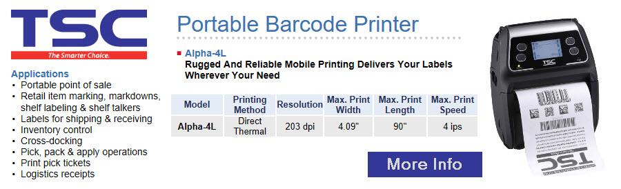 tsc portable barcode printer alpha 4l