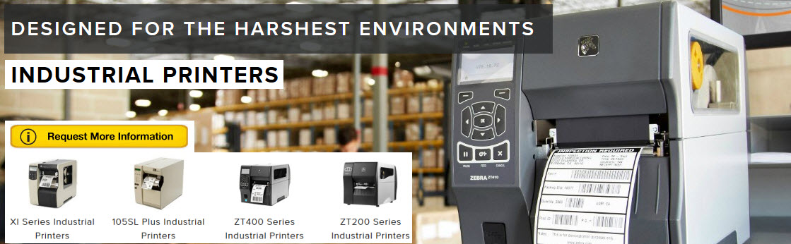 zebra has industrial printers for strength and designed for harsh environments
